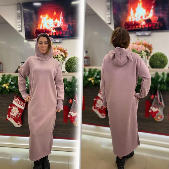 8118-3 Trend розовое платье-худи трехнитка на флисе (1 ед. размеры: универсал 46/50)#естьрозница Trend: артикул 1117288