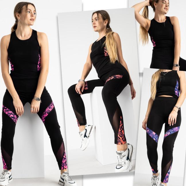 0200-2 Т фитнес-костюм женский стрейчевый микс цветов (4 ед. размеры: S-M/2, L-XL/2) Без выбора цветов Фитнес-костюм: артикул 1124580