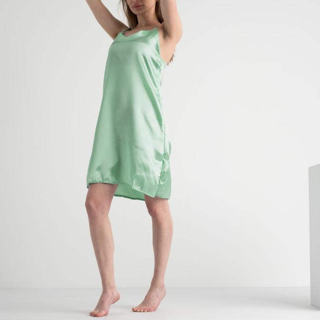 7153 светло-зеленая ночнушка женская из атласа (4 ед. размеры: 42.44.46.48) Ночнушка: артикул 1117657