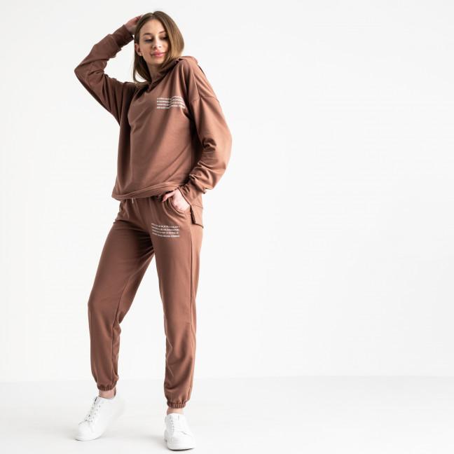 15115-10 какао спортивный костюм женский из двунитки (4 ед. размеры: S.M.L.XL) Спортивный костюм: артикул 1118898