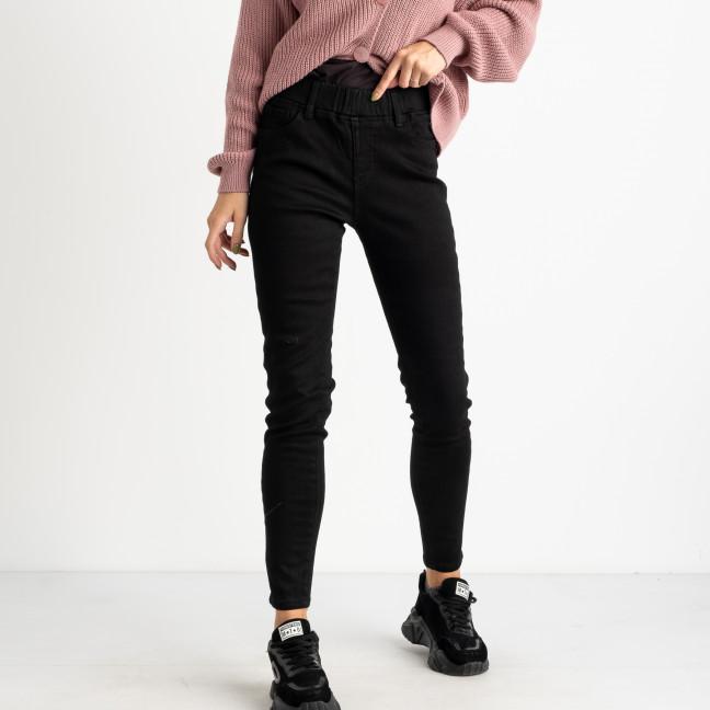 6028 New Jeans американка на флисе черная стрейчевая (6 ед.размеры: 25.26.27.28.29.30) New Jeans: артикул 1124594