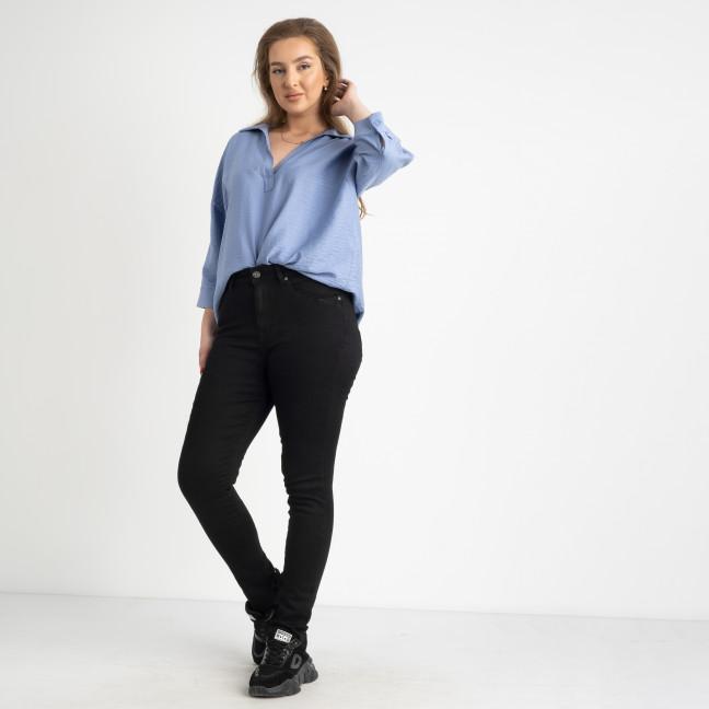 6035 New Jeans американка на флисе полубатальная черная  стрейчевая (6 ед.размеры: 28.29.30.31.32.33) New Jeans: артикул 1124607