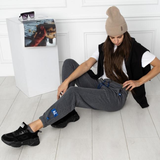 0010-5 темно-серые спортивные штаны женские на флисе (6 ед.размеры: S.M.L.XL.XXL.3XL) Спортивные штаны: артикул 1124640