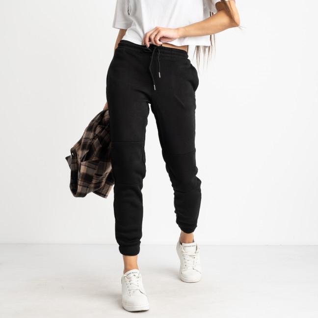 0012-1 черные спортивные штаны женские на флисе (6 ед.размеры: S.M.L.XL.XXL.3XL) Спортивные штаны: артикул 1124681