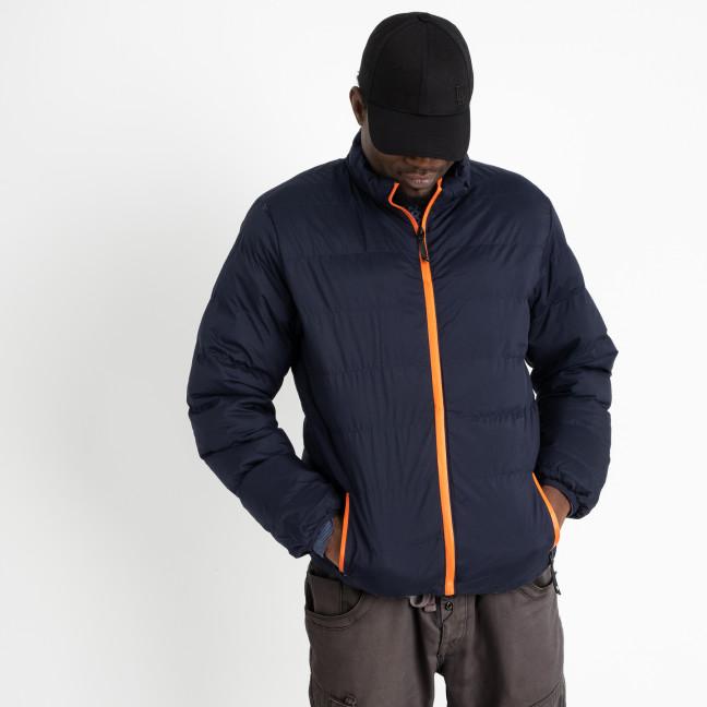 8088-3 темно-синяя куртка полубатальная мужская на синтепоне (6 ед .размеры : L-5XL) Куртка: артикул 1124815