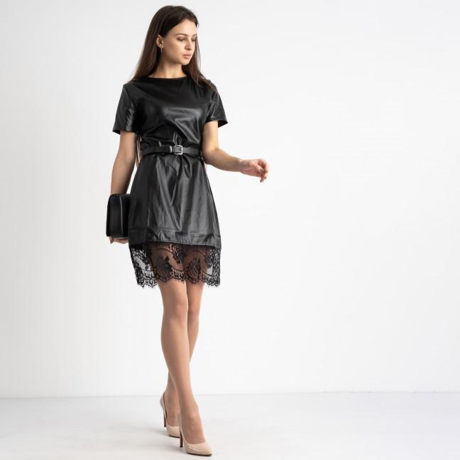 0035-1 черное платье из экокожи с кружевами  (2 ед. размеры: S.M)  Платье: артикул 1125082