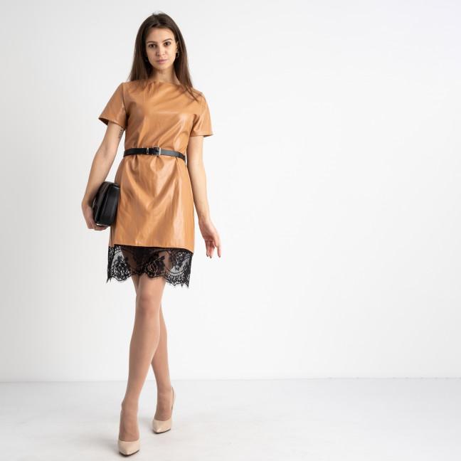 0035-2 коричневое платье из экокожи с кружевами  (2 ед. размеры: S.M)  Платье: артикул 1125083