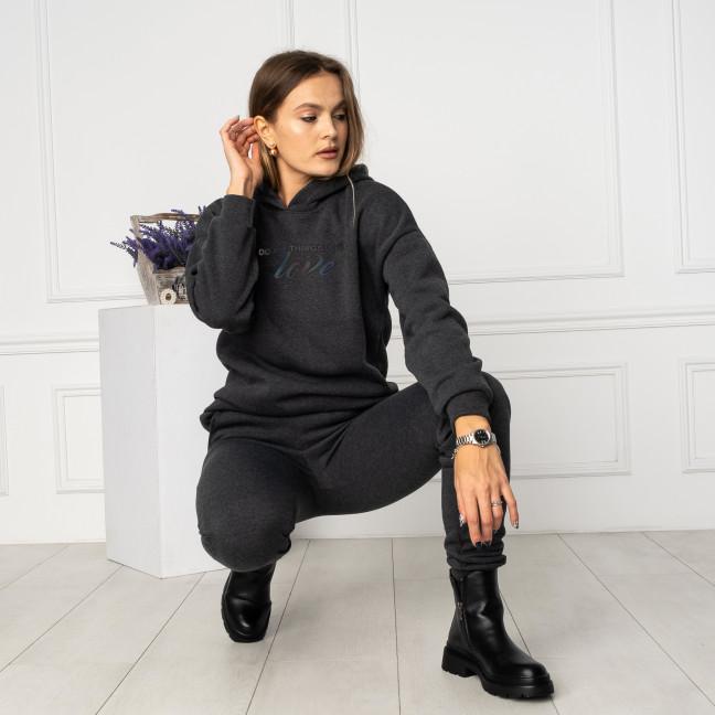 3020-7 тёмно-серый спортивный костюм женский с накаткой на флисе (4 ед.размеры: 42.44.46.48) Спортивный костюм: артикул 1125525