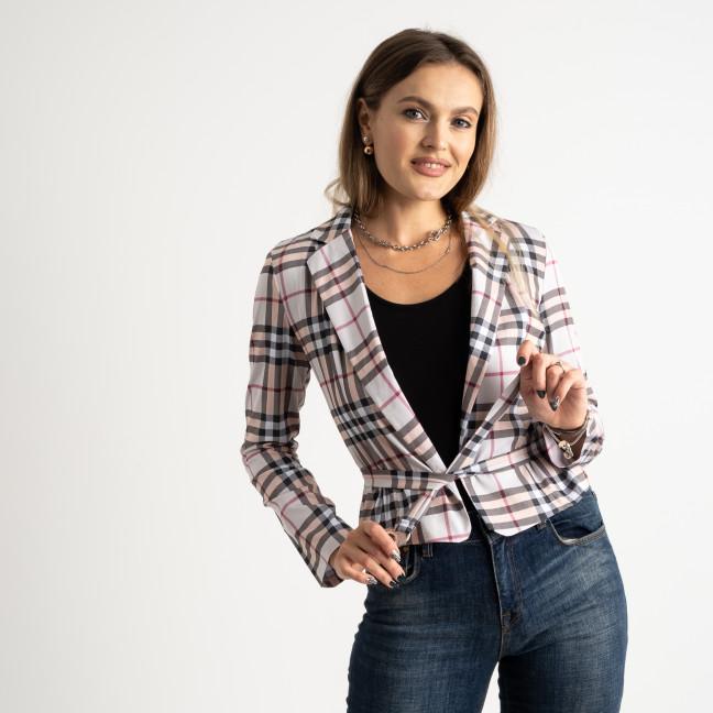 9911 бежевый пиджак в клетку женский ( 5 ед.размеры: 42-46 ) Пиджак: артикул 1125201