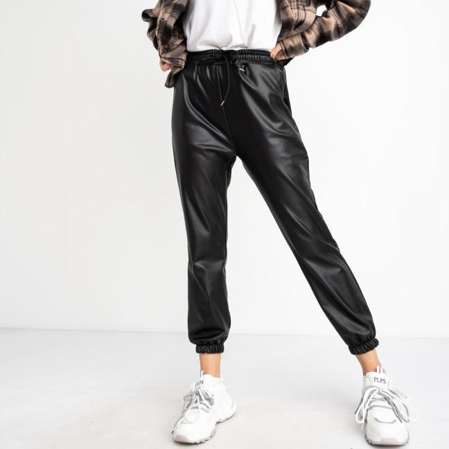 3004-1 Miss Buzzi черные джогеры из эко-кожи на меховой подкладке (3 ед. размеры: S.M.L) Miss Buzzi: артикул 1125468