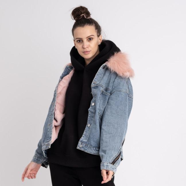 1012-2 Fashion куртка женская джинсовая на розовой меховой подкладке (3 ед. размеры: M.L.XL) Fashion: артикул 1125549