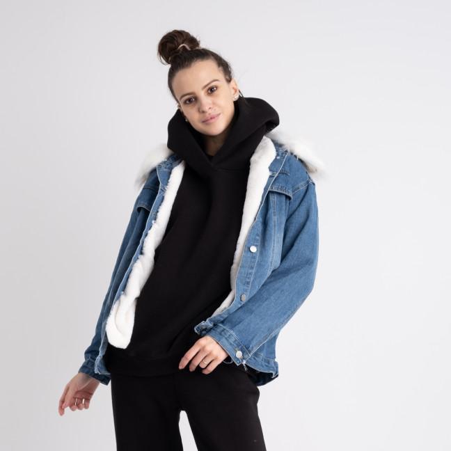 1014 Fashion куртка женская джинсовая на белой меховой подкладке (2 ед. размеры: M.XL) Fashion: артикул 1125556