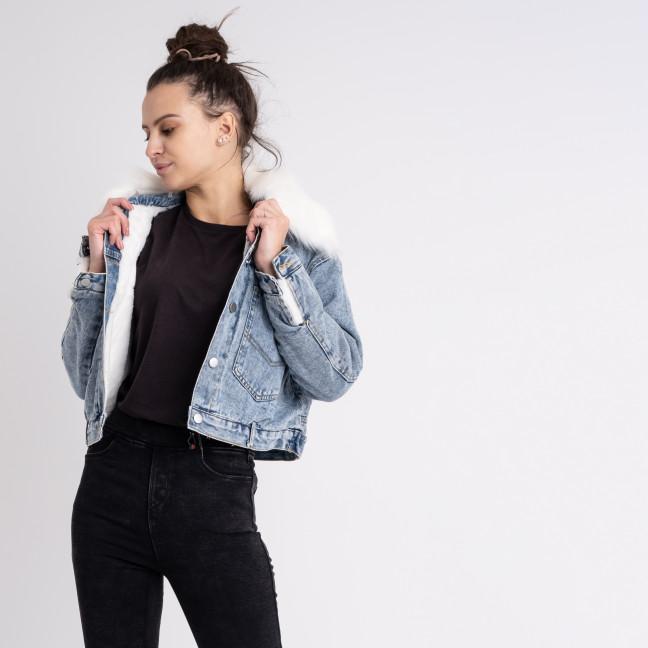 0701-01 Fashion куртка женская джинсовая на белой меховой подкладке (2 ед. размеры: M.XL) Fashion: артикул 1125557