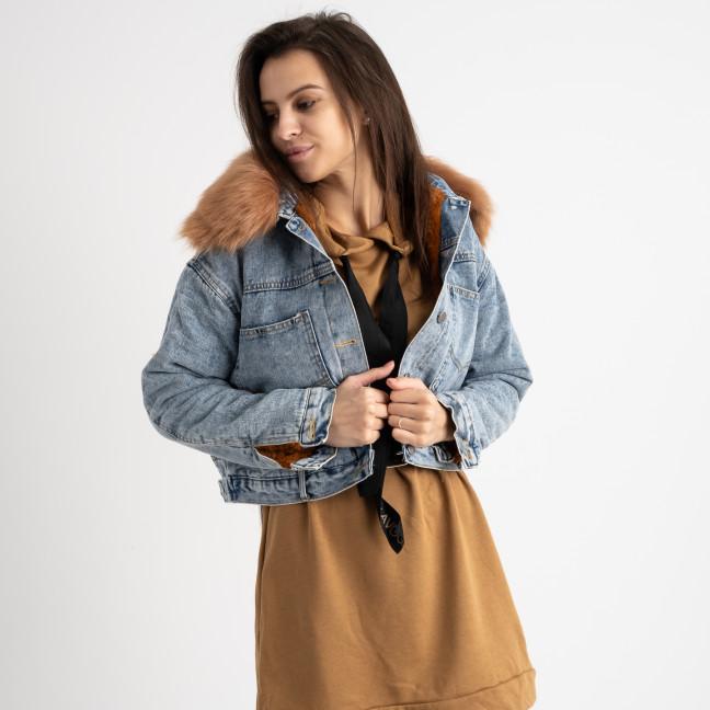 0701-1 Fashion куртка женская джинсовая на коричневой меховой подкладке (3 ед. размеры: M.L.XL) Fashion: артикул 1125553