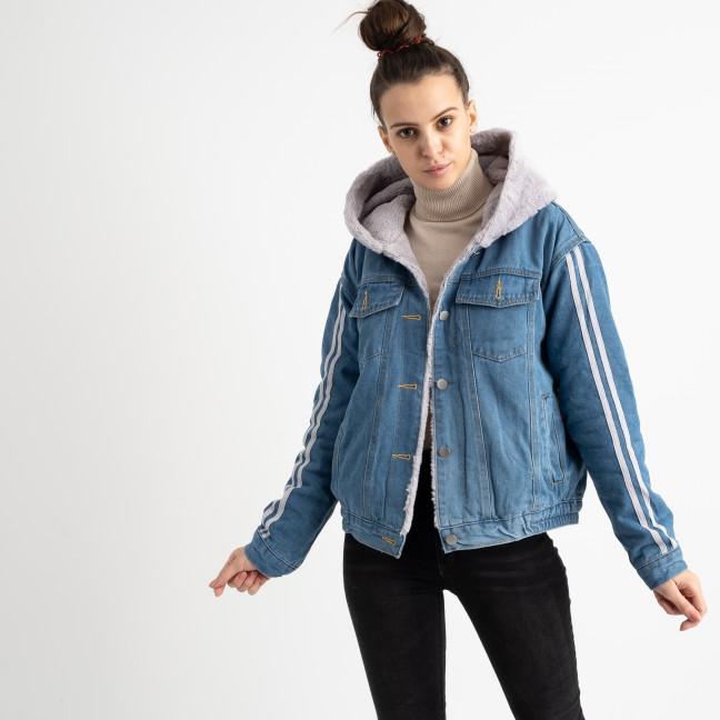 0703-1 Fashion куртка женская джинсовая на серой меховой подкладке (3 ед. размеры: S.M.L) Fashion: артикул 1125604