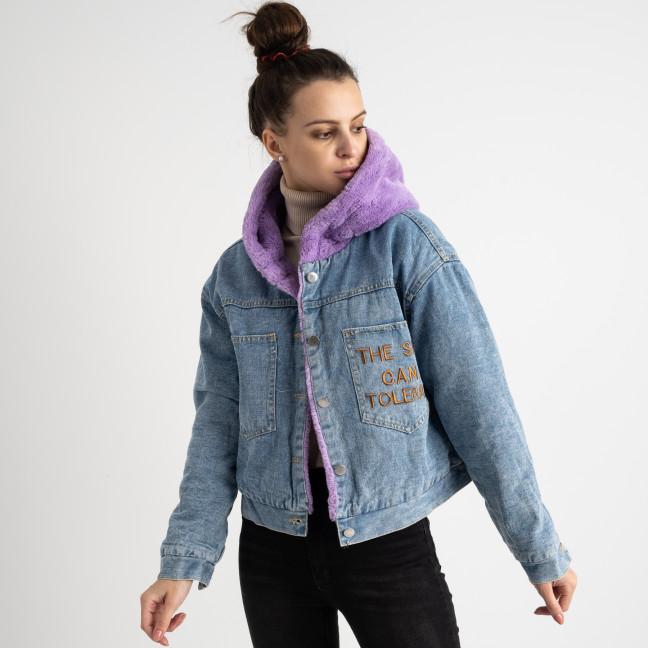 1866-2 Fashion куртка женская джинсовая на фиолетовой меховой подкладке (3 ед. размеры: S.M.L) Fashion: артикул 1125606