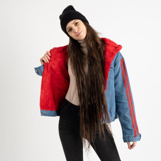 0703-3 Fashion куртка женская джинсовая на красной меховой подкладке (3 ед. размеры: S.M/2) Fashion: артикул 1125602