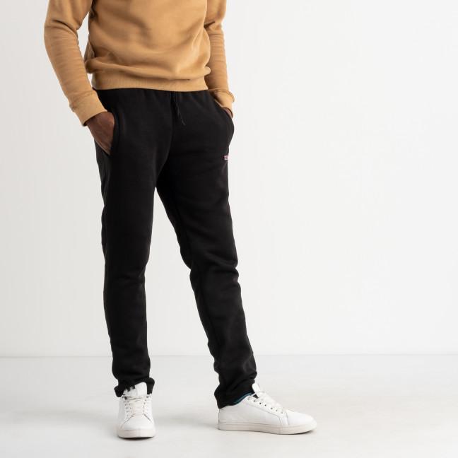 4035 черные спортивные штаны мужские из трехнитки на флисе (4 ед. размеры: M.L.XL.XXL) Спортивные штаны: артикул 1125611