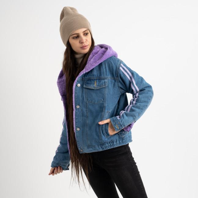 0703-2 Fashion куртка женская джинсовая на фиолетовой меховой подкладке (3 ед. размеры: S.M.L) Fashion: артикул 1125603