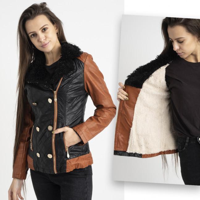 1404-1 O&S черная куртка из эко-кожи на меховой подкладке (5 ед. размеры: S.M.L.XL.XXL) O&S: артикул 1125462