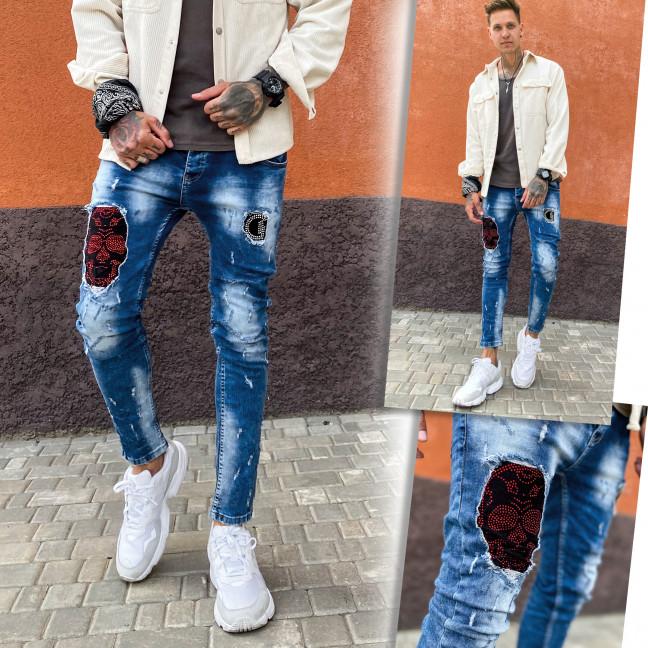 6088 Charj джинсы мужские с декоративной отделкой и стразами демисезонные стрейчевые (29-36, 8 ед.) Charj: артикул 1108245