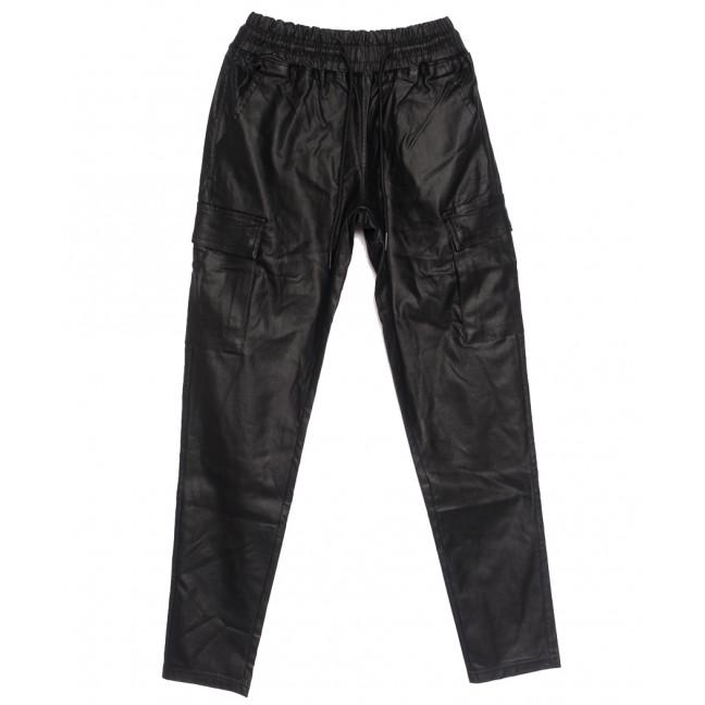 0106 Moon girl брюки джинсовые женские на резинке из эко-кожи черные осенние стрейчевые (S-ХL, 6 ед.) M.Sara: артикул 1111204