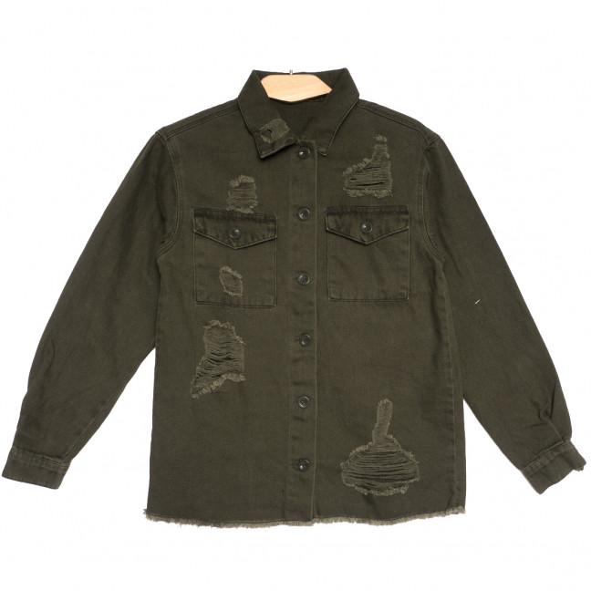 5011 куртка джинсовая женская с рванкой хаки осенняя коттоновая (S-L, 5 ед.) Куртка: артикул 1111351