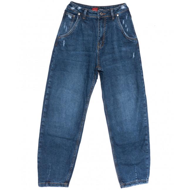 0061-3 М Relucky джинсы-баллон с царапками синие осенние стрейчевые (25-30, 6 ед.) Relucky: артикул 1111614