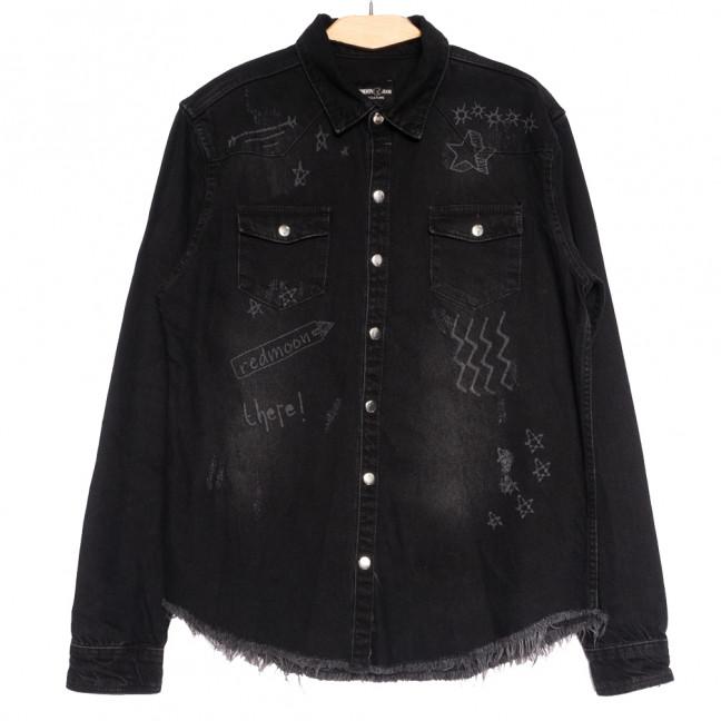 0376 Redmoon рубашка джинсовая мужская черная осенняя коттоновая (S-XL, 4 ед.) REDMOON: артикул 1111744