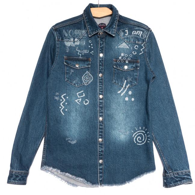 0375 Redmoon рубашка джинсовая мужская синяя осенняя коттоновая (S-XL, 4 ед.) REDMOON: артикул 1111746