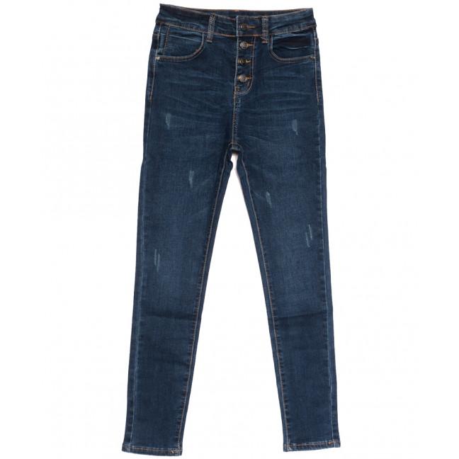 0526 New jeans американка полубатальная с царапками синяя осенняя стрейчевая (28-33, 6 ед.) New Jeans: артикул 1111668