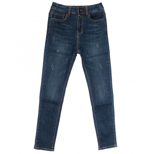 0528 New jeans американка полубатальная с царапками синяя осенняя стрейчевая (28-33, 6 ед.) New Jeans: артикул 1111661