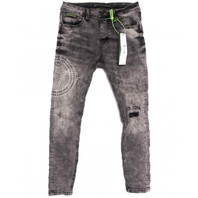 2233 Hardsoda Jeans джинсы мужские с рванкой серые осенние стрейчевые (30-38, 5 ед.) Hardsoda Jeans: артикул 1111963