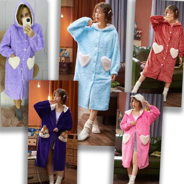 7800 плюшевый  халат женский микс цветов и моделей (5 ед.размеры:M-XL) Плюшевый халат: артикул 1124951
