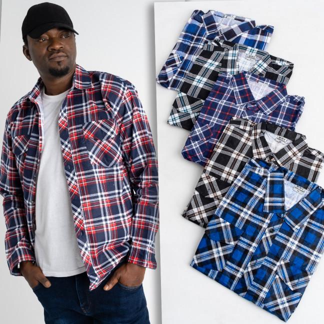 16117 мужская рубашка полубатальная в клетку на тонкой байке микс цветов (5 ед .размеры:XL.2XL.3XL.4XL.5XL) Рубашка: артикул 1125052