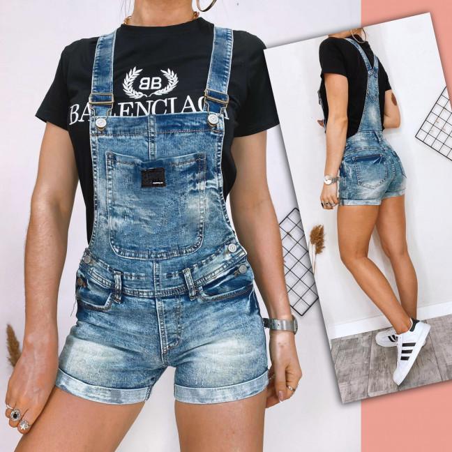 0042-15 Relucky комбинезон-шорты джинсовый женский с царапками синий стрейчевый (25-30, 6 ед.) Relucky: артикул 1108645