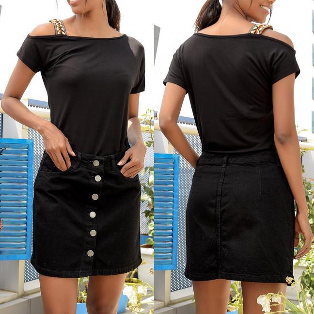 44456 Defile юбка джинсовая черная на пуговицах осенняя котоновая (34-40, евро, 6 ед.)  Defile: артикул 1095831